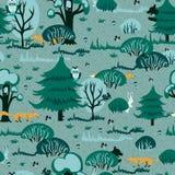 Жизнерадостная картина для детей показывая сосновый лес с красными лисичками и милыми зайчиками безшовная ткань вектора иллюстрация вектора