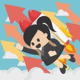 Жизнерадостная коммерсантка летая с illu вектора пакета двигателя плоским бесплатная иллюстрация