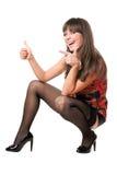 жизнерадостная показывая женщина большого пальца руки стоковые изображения rf