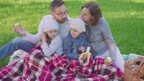 Жизнерадостная семья сидя на траве во время пикника в парке, все имеет завтрак там корзина с едой свеже сток-видео