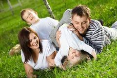жизнерадостная семья Стоковое Изображение