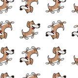 Жизнерадостная собака скача с счастьем, текстурой на теме ` s детей иллюстрация вектора