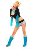Жизнерадостная стильная девушка смотря в угле Стоковые Изображения RF