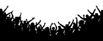 Жизнерадостная толпа аплодируя, силуэт людей Партия, рукоплескание Концерт танца вентиляторов, диско иллюстрация вектора