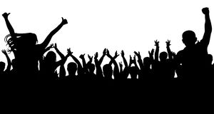 Жизнерадостная толпа людей, силуэт Партия, рукоплескание Концерт танца вентиляторов, диско иллюстрация штока