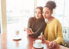 2 жизнерадостное и красивые девушки сидят совместно около таблицы и наблюдают что-то на телефоне Они смотрят Стоковые Изображения