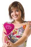 жизнерадостное сердце девушки Стоковая Фотография RF