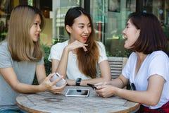 Жизнерадостные азиатские молодые женщины сидя в кофе кафа выпивая с друзьями и говоря совместно Стоковые Изображения RF