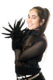 жизнерадостные детеныши женщины портрета перчаток стоковые фото