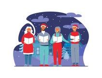 Жизнерадостные люди в шляпах Санты поя рождественские гимны рождества Характеры зимних отдыхов на предпосылке Snowy Певицы Xmas иллюстрация штока