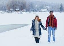 Жизнерадостные пары проводя дискуссию горизонтальных снежностей деревни луга Snowy рук идя усмехаясь Стоковые Фото