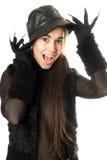 жизнерадостные перчатки девушки когтей изолировали Стоковые Изображения
