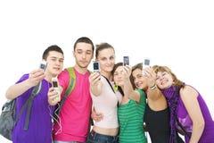 жизнерадостные подростки группы Стоковые Изображения