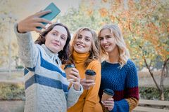 Жизнерадостные привлекательные 3 лучшего друга молодых женщин имея потеху совместно снаружи и делая selfie стоковые изображения