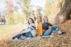 Жизнерадостные привлекательные 3 лучшего друга молодых женщин имея пикник и потеху совместно снаружи стоковое фото