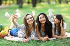Жизнерадостные усмехаясь девушки принимая selfie лежа на одеяле на траве Стоковая Фотография