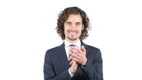 Жизнерадостный бизнесмен аплодируя, вьющиеся волосы Стоковая Фотография RF