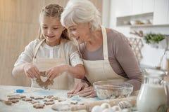 Жизнерадостный внук делая печенья с бабушкой Стоковое Изображение