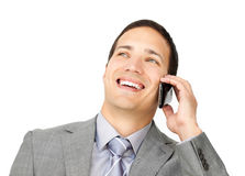 Жизнерадостный мыжской экзекьютив на телефоне стоковая фотография rf