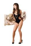 жизнерадостный носить swimsuit леопарда повелительницы пальто стоковое фото