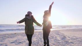 Жизнерадостный отдых, молодость бежать вокруг и развевая руки на пляже в солнце испускают лучи видеоматериал