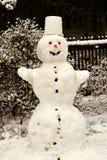 Жизнерадостный снеговик стоя в саде стоковая фотография