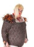 Жизнерадостный человек, ферзь сопротивления, в женском костюме Стоковая Фотография