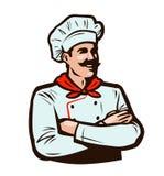 Жизнерадостный шеф-повар в шляпе кашевара Варящ, концепция еды alien кот шаржа избегает вектор крыши иллюстрации иллюстрация вектора