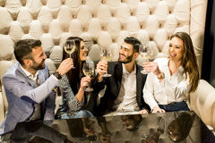 Жизнерадостная группа в составе молодые люди провозглашать с вином Стоковое Изображение