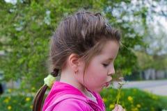Жизнерадостная девушка ребенк с одуванчики стоковое фото rf