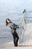 Жизнерадостная девушка рекой Стоковое фото RF