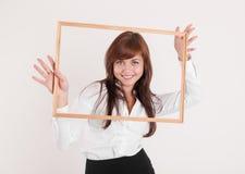 Жизнерадостная женщина в рамке Стоковые Фотографии RF