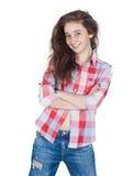 Жизнерадостная милая предназначенная для подростков девушка 17-18 лет, изолированных на белом backgro Стоковое фото RF