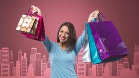Жизнерадостная покупка женщины Стоковое Фото