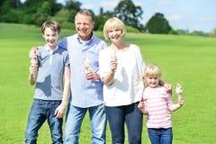 Жизнерадостная семья держа yummy конусы мороженого стоковое изображение