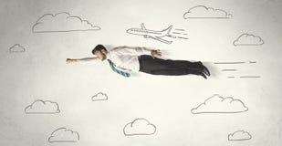 Жизнерадостное летание персоны дела между небом нарисованным рукой заволакивает иллюстрация штока