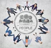 Жизнерадостные бизнесмены держа руки формируя круг Стоковое Изображение RF