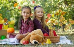 Жизнерадостные девушки имея потеху на пикнике осени в парке Стоковое фото RF