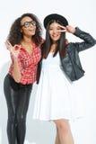 Жизнерадостные девушки представляя на камере Стоковое Фото