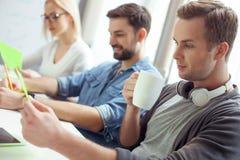 Жизнерадостные 3 коллеги сотрудничают в офисе Стоковое Фото