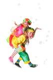 Жизнерадостные клоуны в пузырях мыла Стоковые Фотографии RF