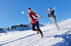 Жизнерадостные молодые пары имея потеху в парке зимы Стоковое фото RF