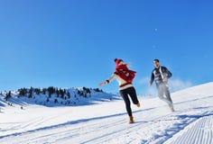 Жизнерадостные молодые пары имея потеху в парке зимы Стоковое Фото