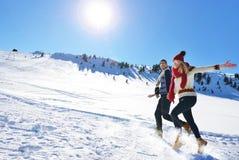 Жизнерадостные молодые пары имея потеху в парке зимы Стоковые Фотографии RF