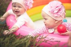 Жизнерадостные младенцы Юта  Ñ дублируют играть outdoors в саде стоковое изображение rf