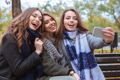Жизнерадостные подруги делая фото selfie на smartphone Стоковая Фотография RF