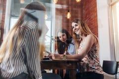 Жизнерадостные подруги сидя и беседуя в комнате исследования сняли через окно Стоковые Изображения