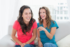 Жизнерадостные друзья сидя на софе в живущей комнате Стоковая Фотография RF