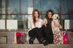 Жизнерадостные друзья с собакой outdoors стоковое изображение