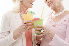 Жизнерадостные старшие дамы наслаждаясь их каникулами стоковая фотография